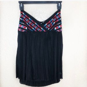 NWT American Eagle Black Embroidered Halter Top